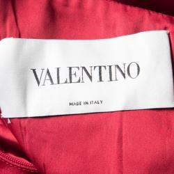 Valentino Red Bow Detail One Shoulder Dress M