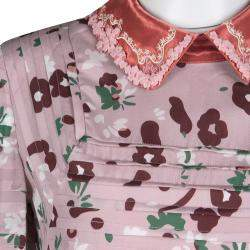 Valentino Pink Floral Print Contrast Applique Collar Pintuck Detail Dress S