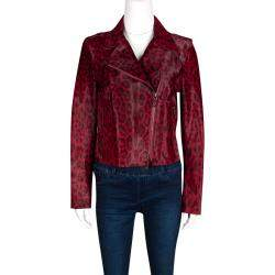 Valentino Red Leopard Pattern Calf Fur Zip Front Biker Jacket M