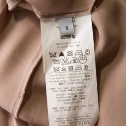 Valentino Beige Ribbed Wool and Silk Pleated Sleeveless Turtleneck Dress M