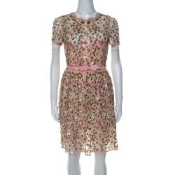 Valentino Pink Floral Embellished Tulle Belted Dress S