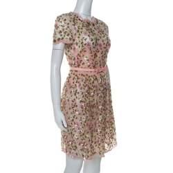 Valentino Pink Floral Embellished Tulle Belted Dress S