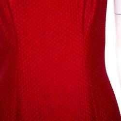 Valentino Red Textured Silk Blend Short Dress M