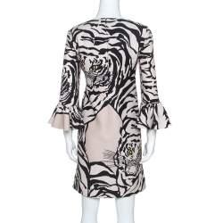 Valentino Beige Crepe Tiger Re-Edition Dress M
