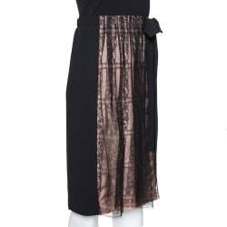 Valentino Black Crepe and Lace Insert Midi Skirt M