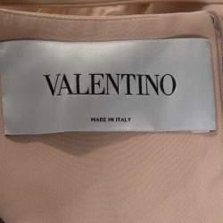 Valentino Beige Silk Pleated Sleeveless Maxi Dress M