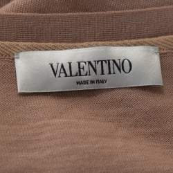 Valentino Blush Pink Wool & Lace Belted Cardigan XS