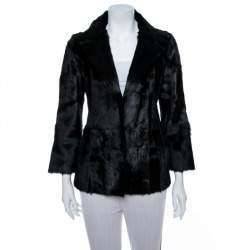 Valentino Vintage Black Dankalia Kid Goat Fur Jacket M