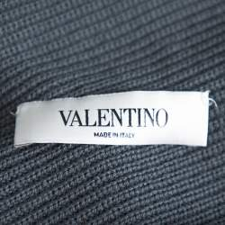 Valentino Grey Rib Knit & Lace Trim Wrap Cardigan XL