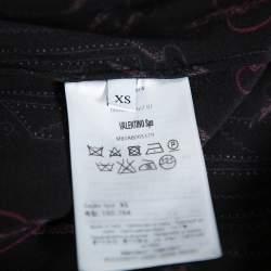 Valentino Black Silk Crepe Love Blade Print Pajama Set XS