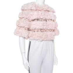 Valentino Light Pink Fur & Lace Roundneck Cropped Jacket S