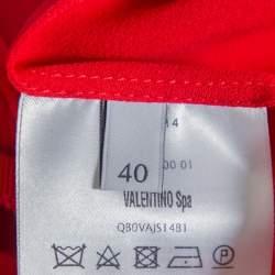 Valentino Red Silk Neck Tie Detail  Pleated Midi Dress S