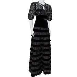 Valentino Black Velvet & Satin Embellished Cape Detail Ruffled Sleeveless Gown M