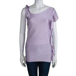 Valentino Lavender Knit Ruffle Detail Ruched One Shoulder Top S