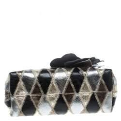 Valentino Metallic Lizard Embossed Leather Crystal Embellished Bag