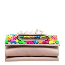 Valentino Taupe Leather Rockstud Va Va Voom Clutch Bag