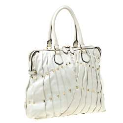 Valentino Off White Leather Maison Pintucked Shopper Tote