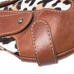 Valentino Brown Pony Hair and Leather Small Vintage Baguette