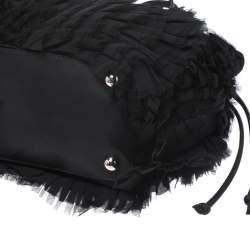 Valentino Black Nylon and Leather Mesh Ruffle Tote