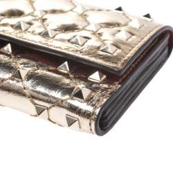 Valentino Gold Patent Leather Rockstud Spike Flap Wallet