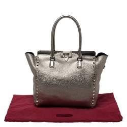 Valentino Metallic Gold Leather Small Rockstud Shopper Tote