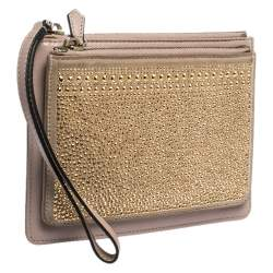 Valentino Nude Beige/Gold Leather and Suede Studded Wristlet Pouch