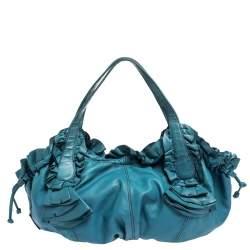 Valentino Blue Leather Ruffle Idylle Hobo