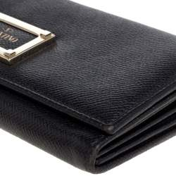 Valentino Black Leather Continental Wallet