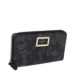 Valentino Black Lace Print Leather Zip Around Continental Wallet