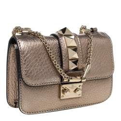 Valentino Metallic Gold Leather Mini Glam Lock Shoulder Bag