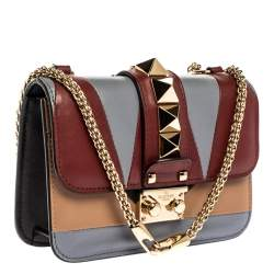 Valentino Multicolor Leather Mini Colorblock Rockstud Glam Lock Bag