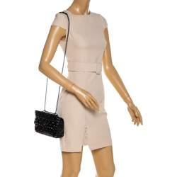 Valentino Black Quilted Soft Crackle Leather Small Rockstud Spike Shoulder Bag