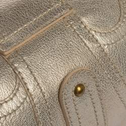 Valentino Light Gold Textured Leather Embellished VLogo Satchel