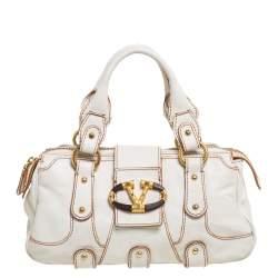 Valentino White Leather Crystal Catch Satchel