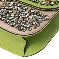 Valentino Green/Beige Leather Small Crystal, Beaded Embellished Rockstud Glam Lock Flap Bag