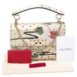 Valentino Off White Quilted Leather Medium Hibiscus Embroidery Rockstud Spike Shoulder Bag