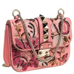 Valentino Pink Embroidered Embellished Leather Small Rockstud Glam Lock Flap Bag