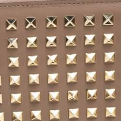 Valentino Beige Leather Rockstud Zip around Wallet