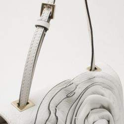 Valentino White Leather Flower Shoulder Bag