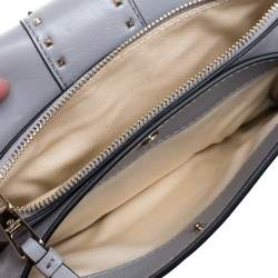 Valentino Grey Leather Mini Rockstud Ruffle Strap Bag