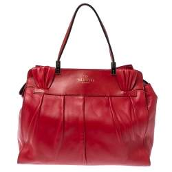 Valentino Red Leather Aphrodite Bow Top Handle Bag