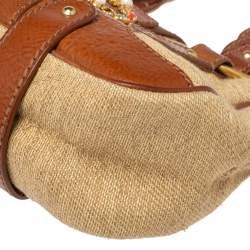 Valentino Beige/Brown Rafiia And Leather V Ring Embellished Sachtel