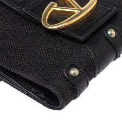 Valentino Black Canvas and Leather S.S. Collection V Logo Compact Wallet