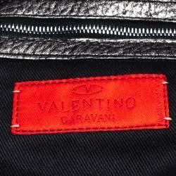 Valentino Metallic Silver Leather Crystal Embellished V Ring Frame Satchel