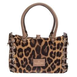 Valentino Brown/Beige Leopard Print Calfhair and Leather Buckle Detail Satchel
