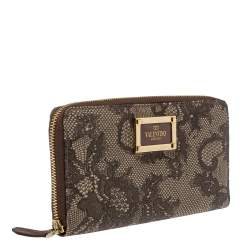 Valentino Brown/Beige Lace Print Leather Zip Around Continental Wallet