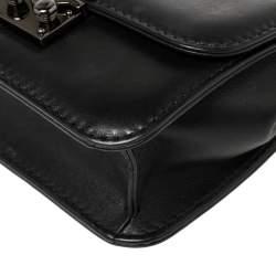 Valentino Black Leather Rockstud Mini Glam Lock Shoulder Bag