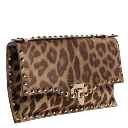 Valentino Brown Pony Hair Rockstud Flap Clutch Bag