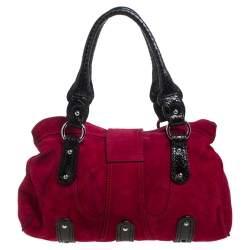 Valentino Dark Pink/Black Suede and Snakeskin Crystal Embellished VRing Satchel