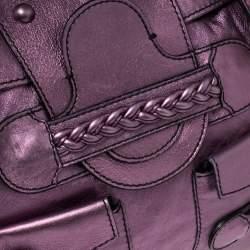 Valentino Metallic Purple Leather Histoire Satchel